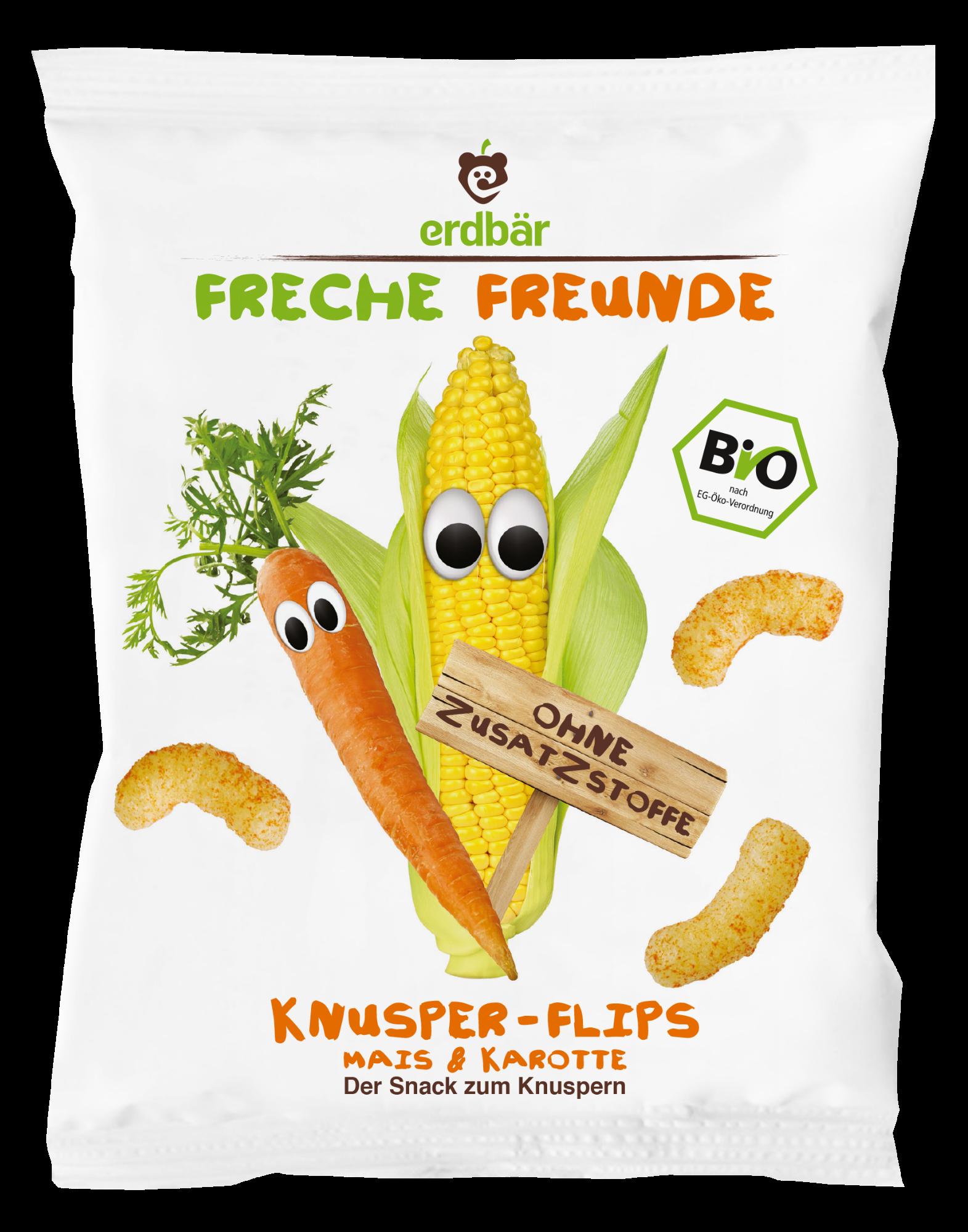 Ekologiški kukurūzai su morkomis FRECHE FREUNDE, 25 g