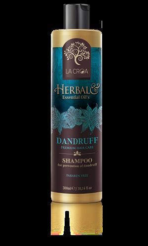 Šampūnas nuo pleiskanų LA CROA DANDRUFF praturtintas eukalipto, rozmarino ir arbatmedžio eteriniais aliejais, 300 ml.
