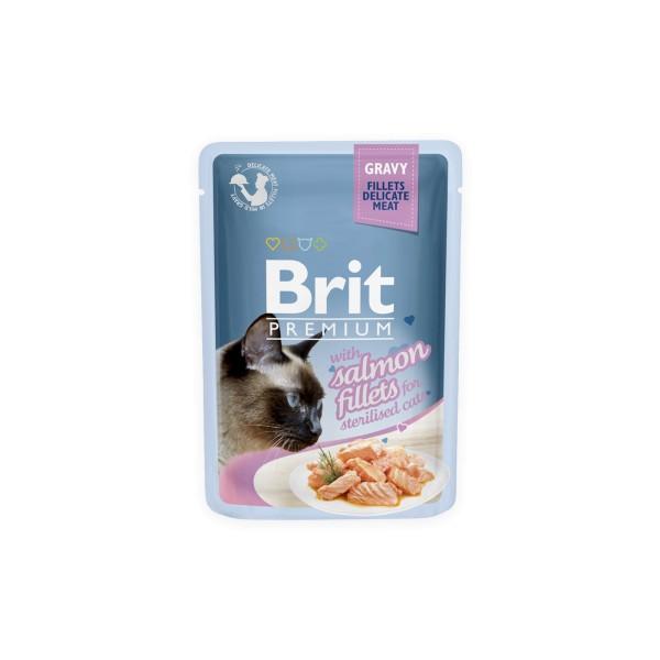 Konservas katėms BRIT PREMIUM Cat Delicate Salmon for Sterilised in Gravy, 85 g
