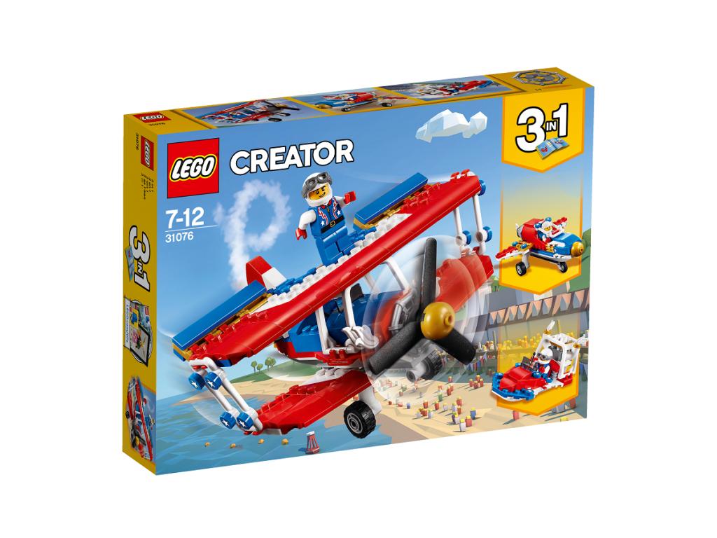 Nutrūktgalvių kaskadinių triukų lėktuvas LEGO CREATOR 7 – 12 metų vaikams (31076)