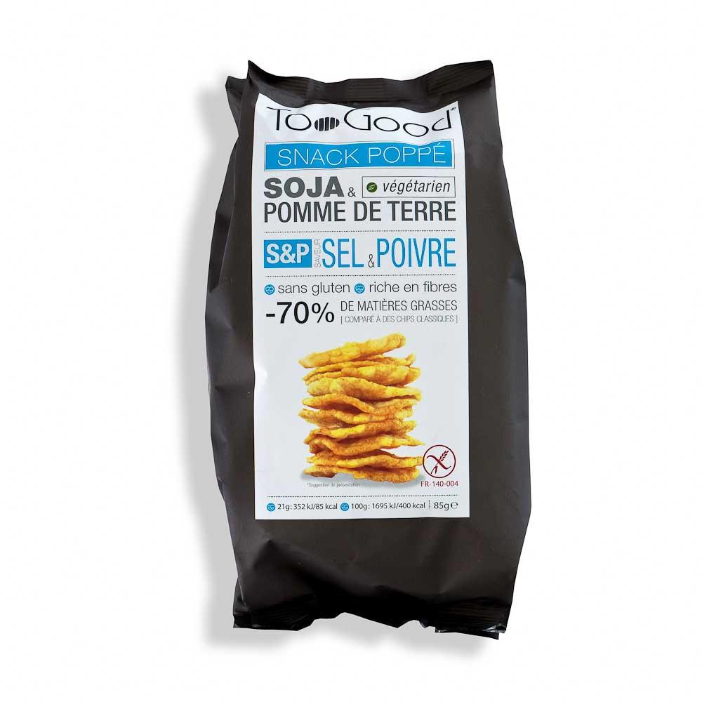 Spragintų sojų ir bulvių trapučiai TOO GOOD, su druska ir juodaisiais pipirais (be glitimo), 85g