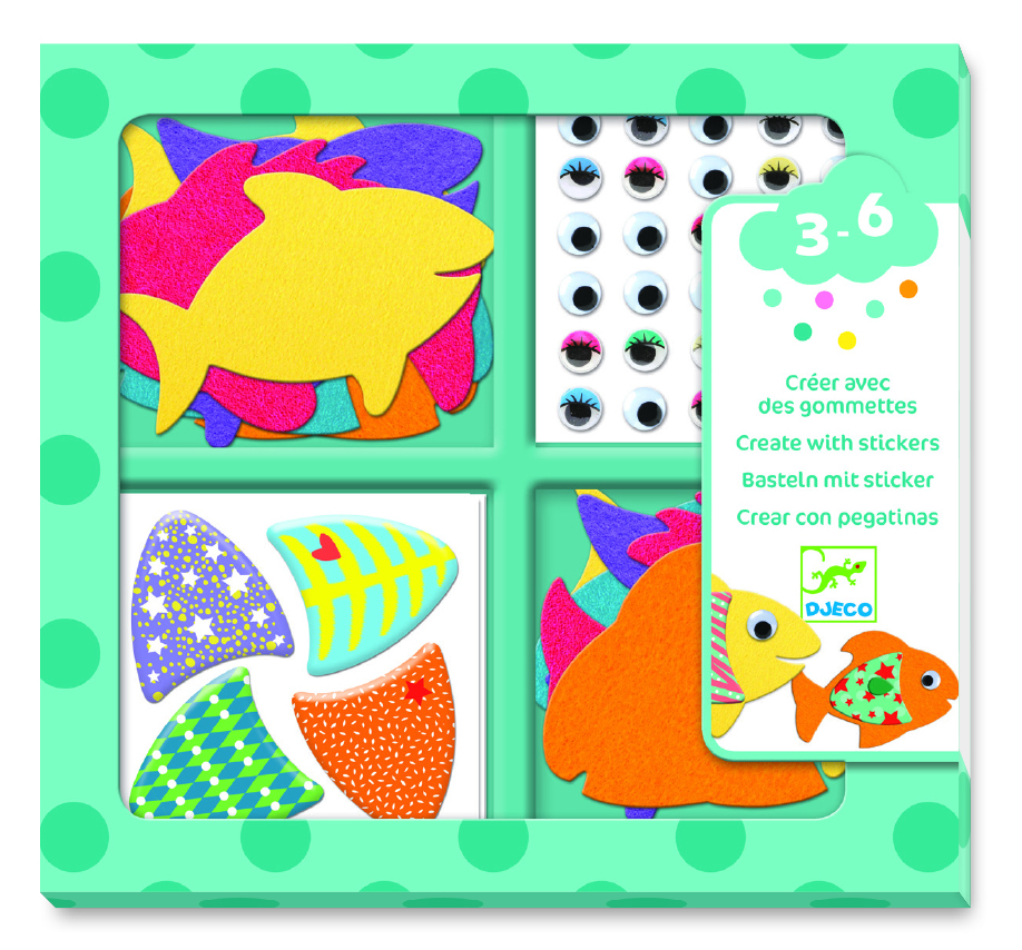 Kūrybinis lipdukų rinkinys DJECO I Love Fishes (DJ09052)