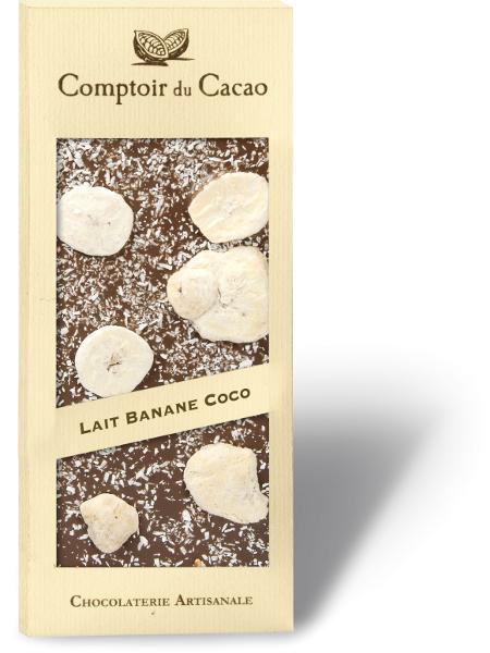 Pieninis šokoladas COMPTOIR du CACAO, su bananais ir kokosu, 90 g