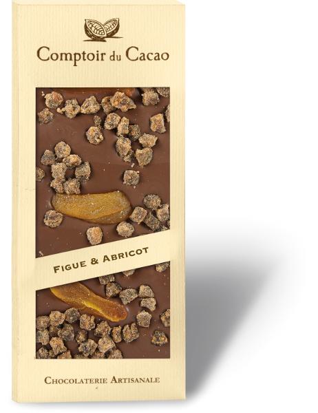 Pieninis šokoladas COMPTOIR du CACAO, su figomis ir abrikosais, 90 g