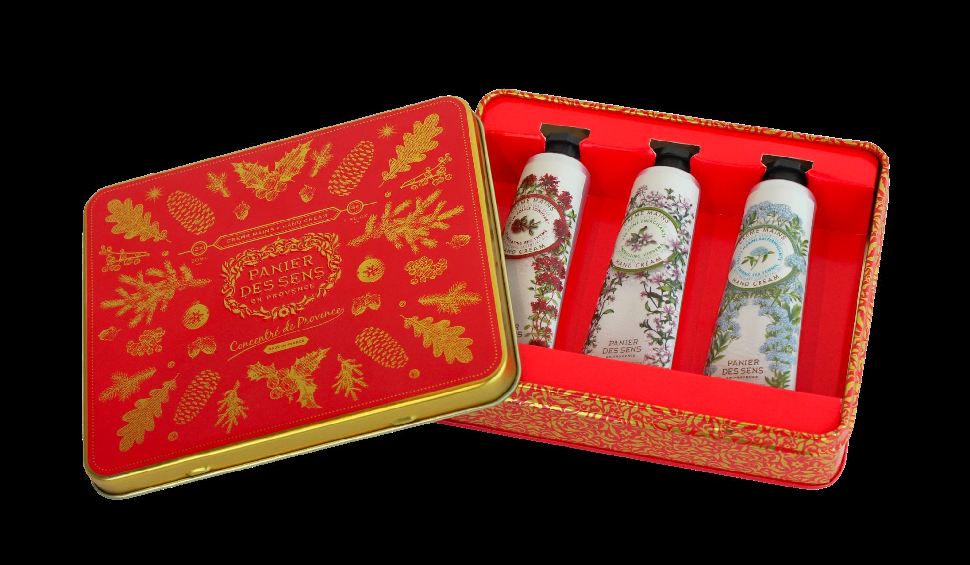 Kalėdinis rankų kremų rinkinys PANIER DES SENS su verbenomis, čiobreliais ir pajūriniais kritmais, 3×30 ml