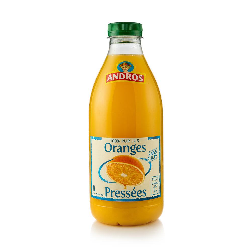 Apelsinų sultys be minkštimo 100% ANDROS, 1000 ml