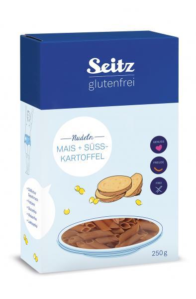 Kukurūzų ir saldžiųjų bulvių miltų makaronai SEITZ, be gliuteno, 250 g