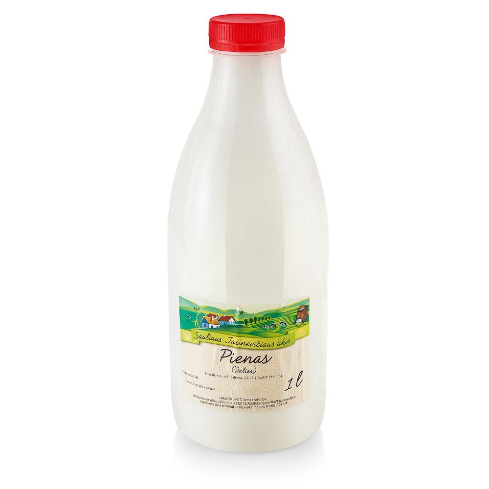 Ūkininko JASINEVIČIAUS natūralus pienas (žalias) 4% rieb., 1l