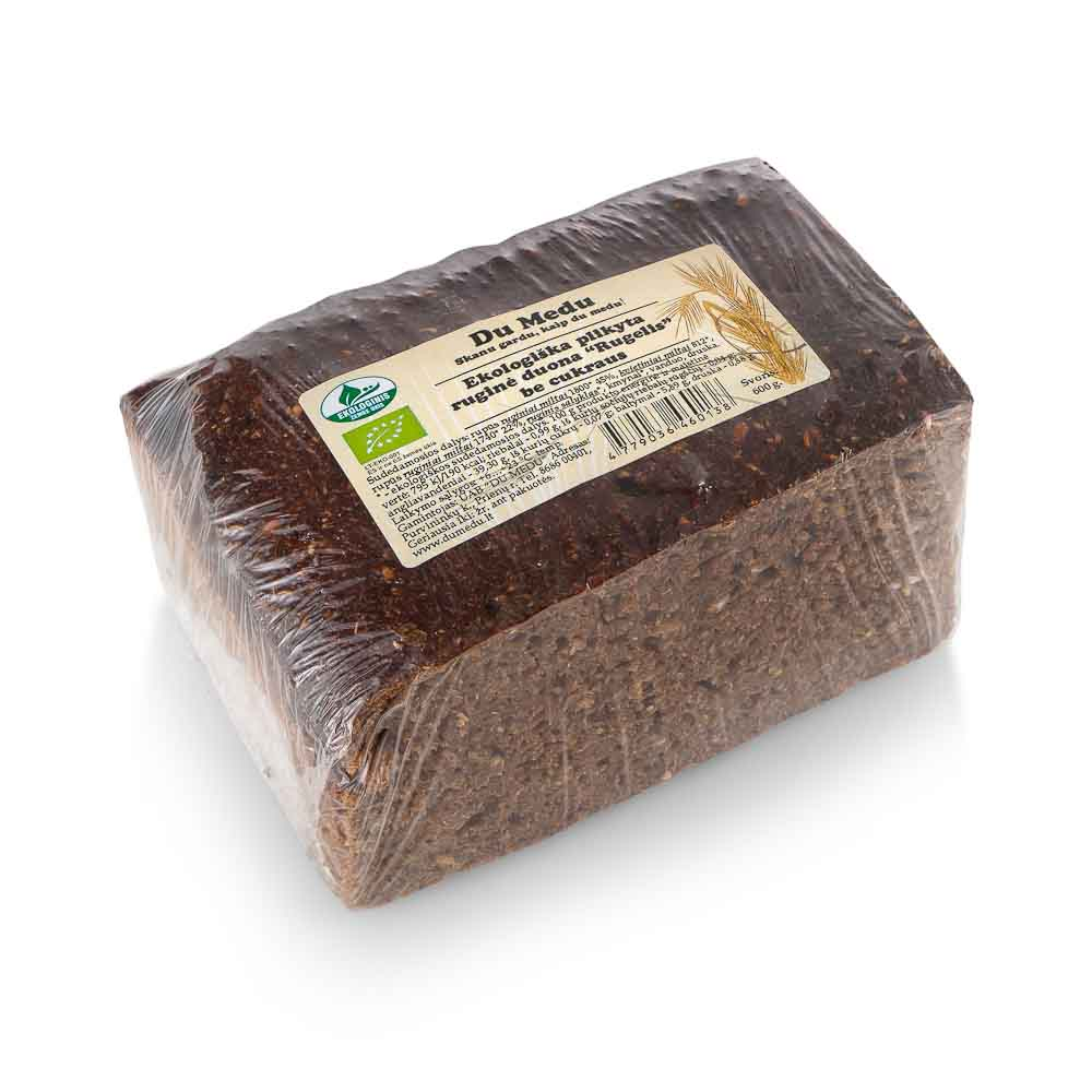 Ekologiška ruginė duona be cukraus DU MEDU Rugelis, 600g