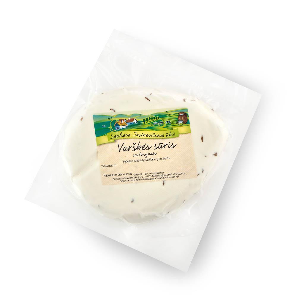 Ūkininko JASINEVIČIAUS varškės sūris su kmynais, 15%