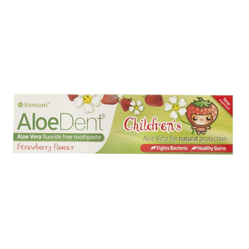 AloeDent Children vaikiška braškių skonio dantų pasta be fluorido, 50 ml