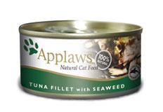 APPLAWS CAT TUNA FILLET with SEAWEED natūralus konservuotas kačių ėdalas su tuno file ir jūros dumbliais, 156g