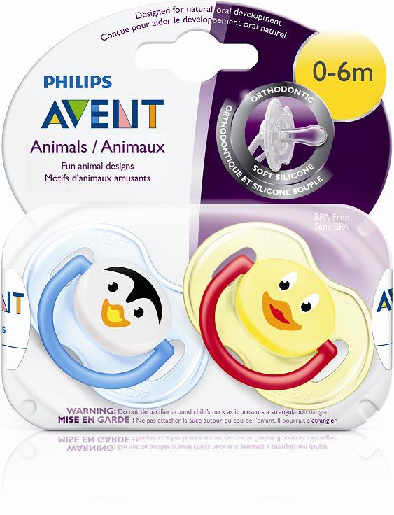 Silikoninis čiulptukas PHILIPS AVENT Gyvūnai N2 kūdikiams 0-6mėn, 2 vnt.