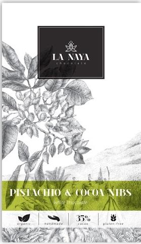 Baltasis šokoladas su pistacijomis ir skaldyta kakava LA NAYA, 35%, 80g