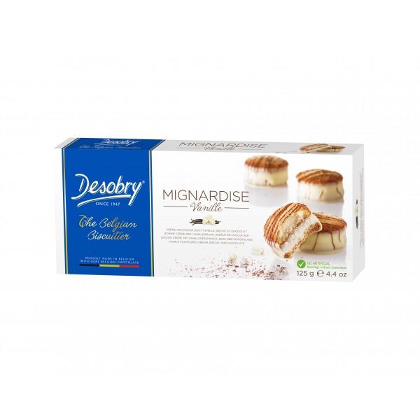Belgiški sausainiai su vanilės skonio kremu DESOBRY, 125g