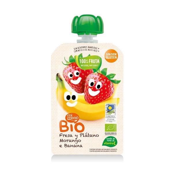 Ekologiška braškių ir bananų tyrelė DULCESOL Mi Menu Bio kūdikiams nuo 4 mėn., 100 g