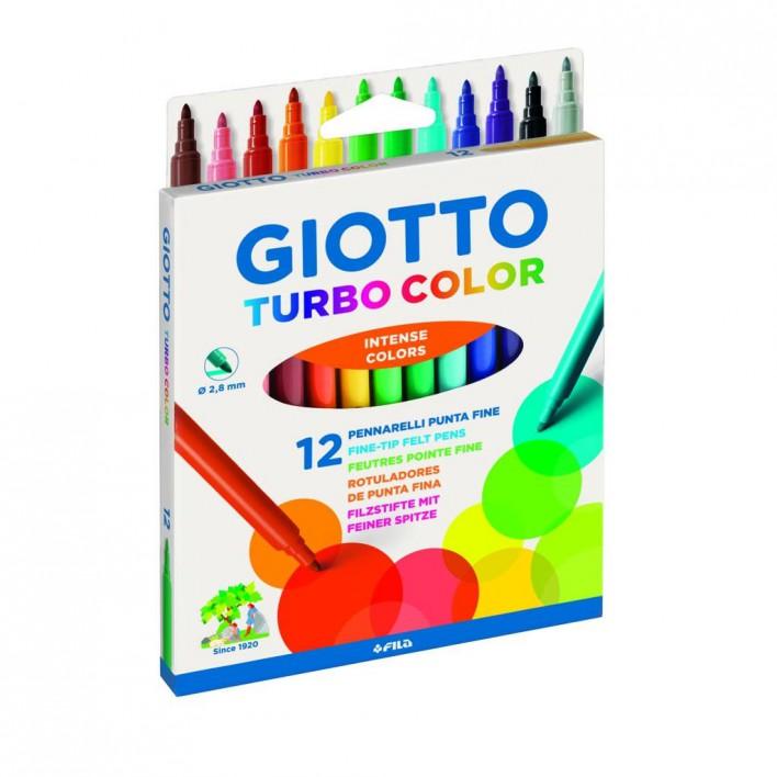 Flomasteriai GIOTTO Turbo vaikams nuo 3 metų, 12 spalvų (071400)