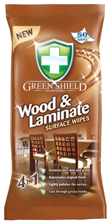 Servetėlės GREEN SHIELD, mediniams paviršiams ir laminatui valyti, 50 vnt.