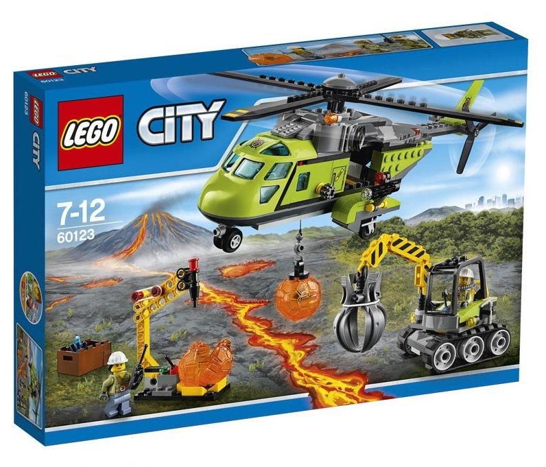 LEGO City Volcano Explorers Vulkano atsargų tiekimo sraigtasparnis, 7-12 m. vaikams (60123)