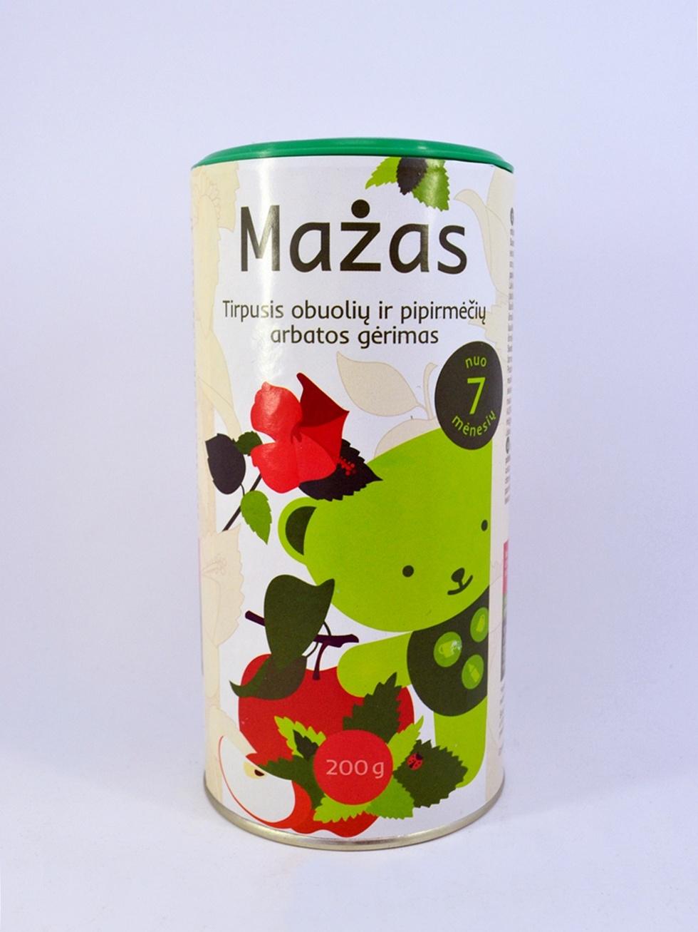 Tirpusis obuolių ir pipirmėčių arbatos gėrimas MAŽAS kūdikiams nuo 12 mėn., 200 g