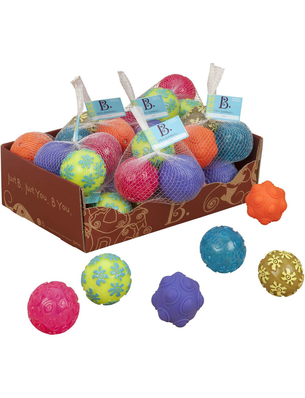 Mini kamuoliukai B-TOYS Oddballs 6 mėn.-4 m. vaikams, 3 vnt. (BX1301Z)