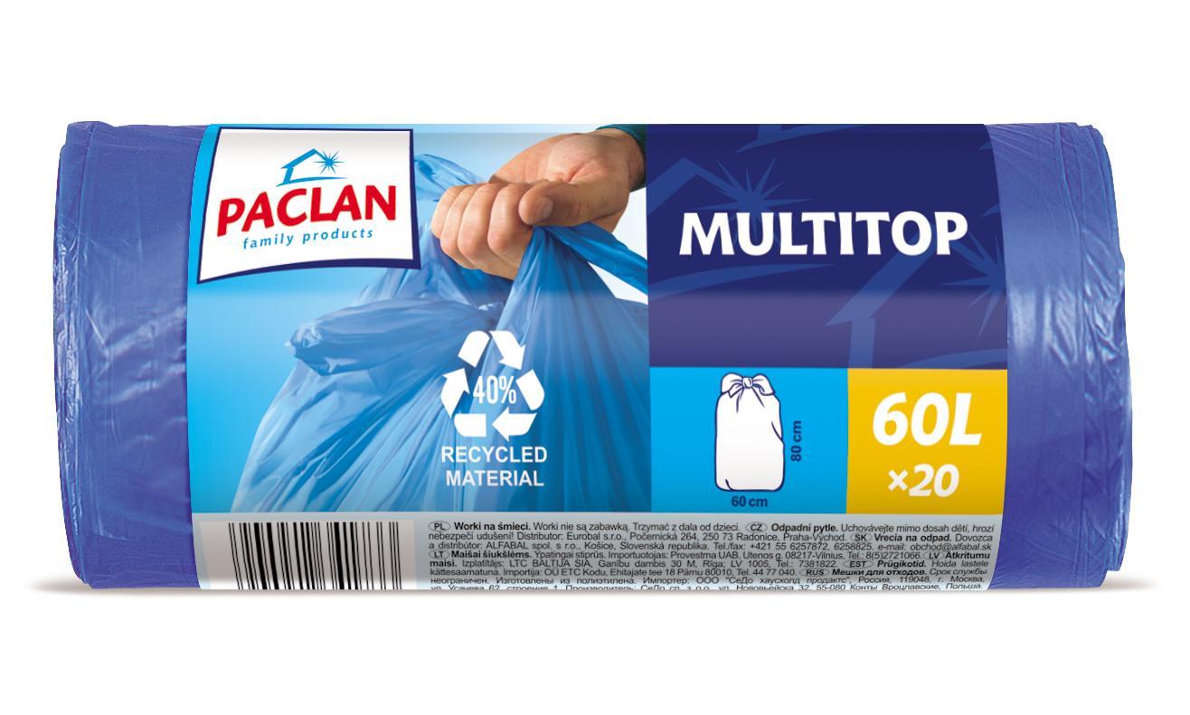 PACLAN Multi top šiukšlių maišai  60L, 20vnt.