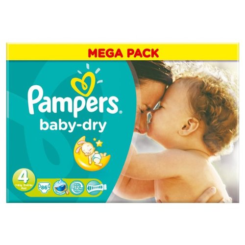 PAMPERS Baby-dry  sauskelnės 4 dydis (7-18kg), MEGA pack 86vnt