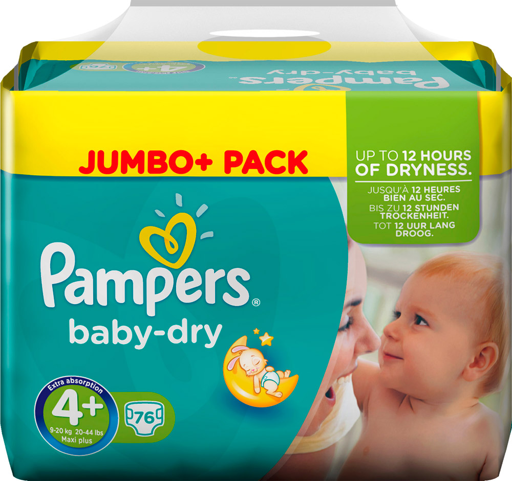 PAMPERS Baby-dry sauskelnės 4+ dydis (9-20kg), Jumbo pack 76 vnt