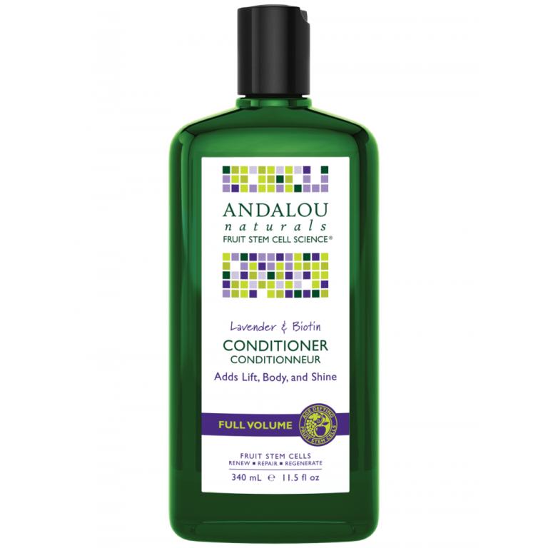 Plaukams apimties suteikiantis kondicionierius su levandomis ir biotinu ANDALOU NATURALS, 340 ml