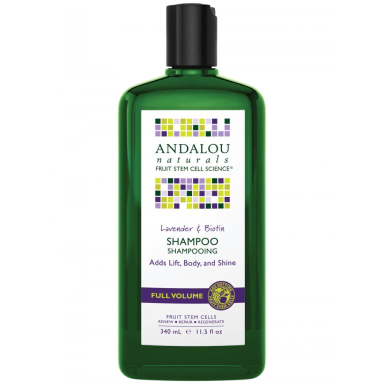 Plaukams apimties suteikiantis  šampūnas su levandomis ir biotinu ANDALOU NATURALS, 340 ml