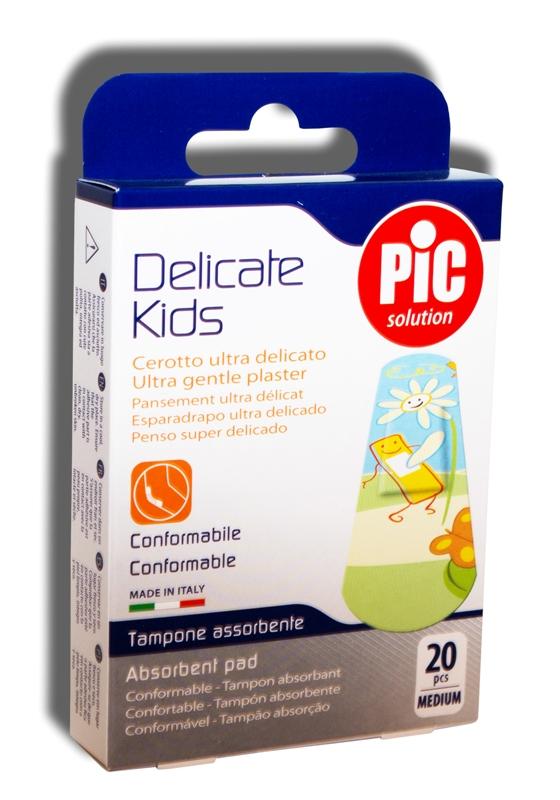 MINKŠTO AUDINIO pleistras 19×72 VAIKAMS Pic Delicate Kids, 20 vnt.