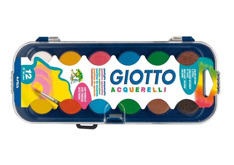 Ryškių spalvų akvarelė GIOTTO vaikams nuo 3 metų, 12 atspalvių (331000)
