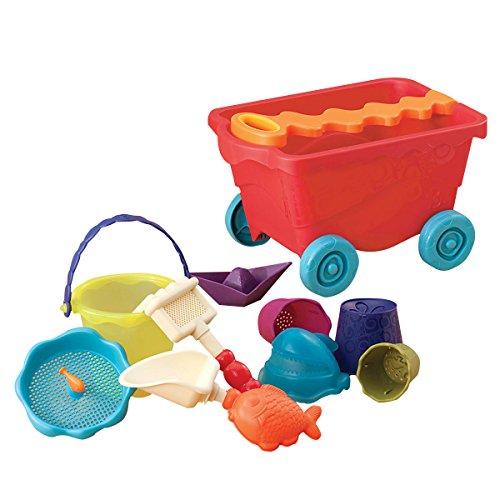 Smėlio žaislų rinkinys – raudonas kelioninis paplūdimio karutis B-TOYS 18 mėn.-8 m. vaikams, 11 detalių (BX1375ZBT)
