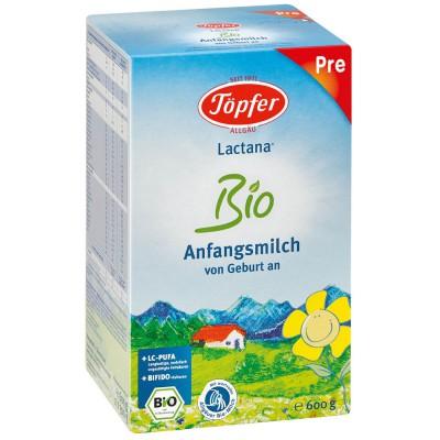 TÖPFER LACTANA Bio Pre ekologiškas probiotinis pradinis pieno mišinys, kūdikiams nuo gimimo, neto masė 600g
