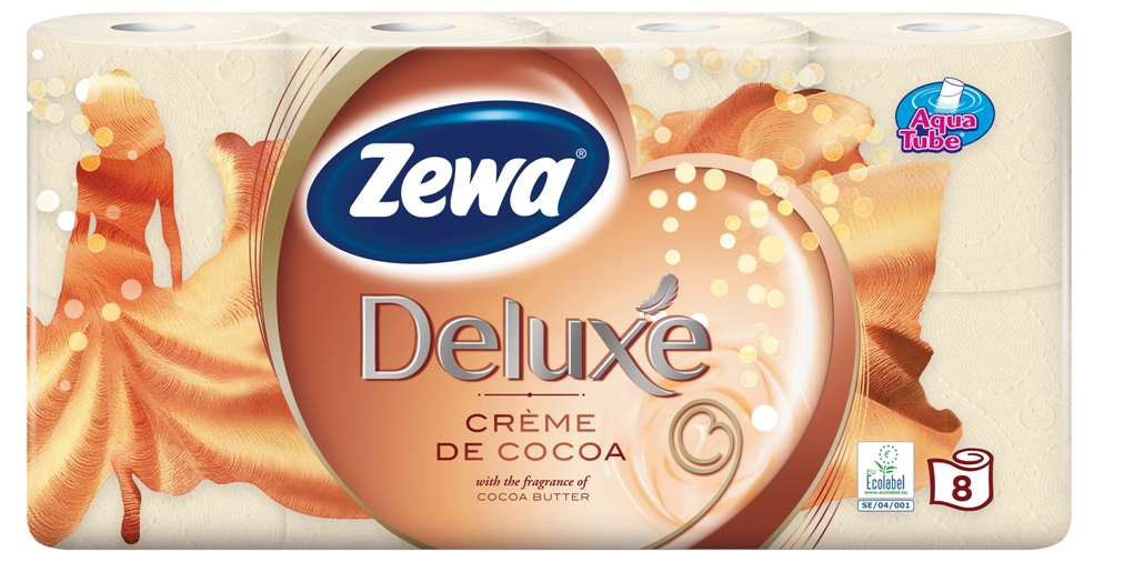 Tualetinis popierius Zewa Deluxe 8 Cr?me De Cocoa8 rulonėliai, 3 sluoksniai