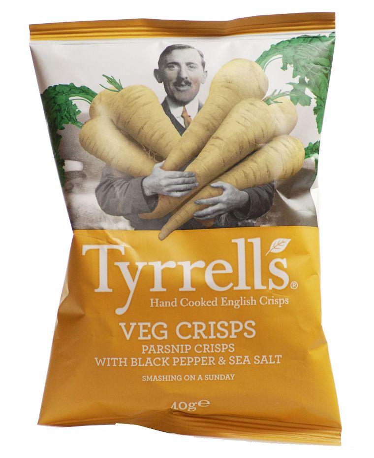 Traškučiai TYRRELLS All Natural Parsnip Chips with Black Pepper & Sea Salt, 40g