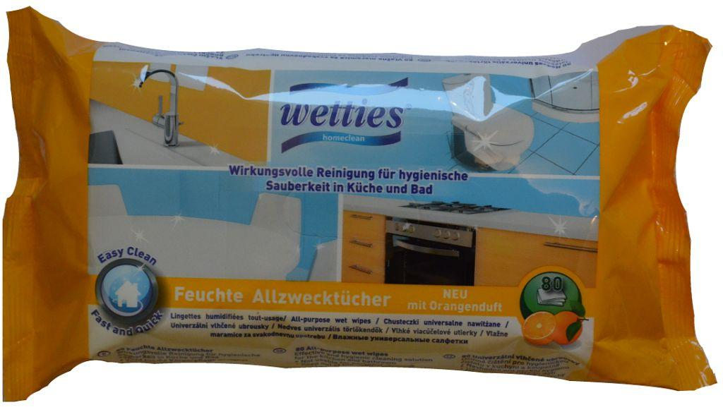 Universalios  citrusinių vaisių kvapo drėgnos servetėlės All purpose wet wipes Orange WETTIES, 80 vnt