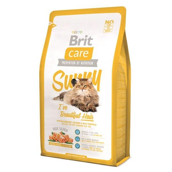 Visavertis ėdalas su   lašišair ryžių formule suaugusiomskatėms ypatingai kailio priežiūrai BRIT CARE Cat Sunny I've Beautiful Hair, 7kg