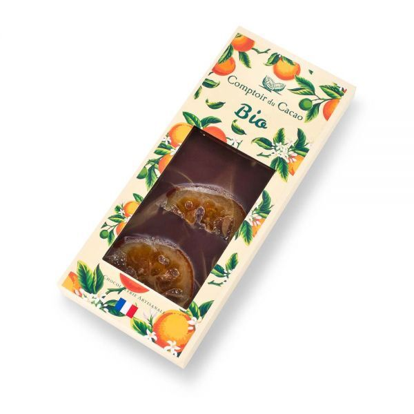 Ekologiškas juodasis šokoladas COMPTOIR du CACAO, su apelsinais, 90 g