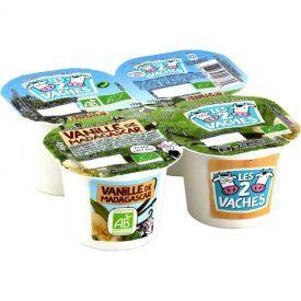 Ekologiški jogurtai su madagaskaro vanile LES2VACHES, 4x115g